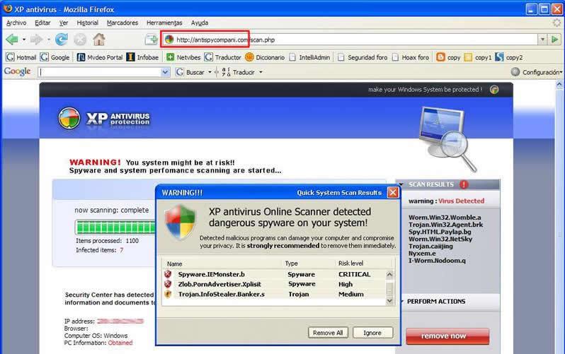 pagina de falso antivirus