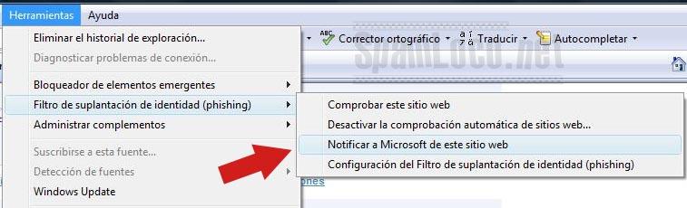 phishing en internet explorar denunciar