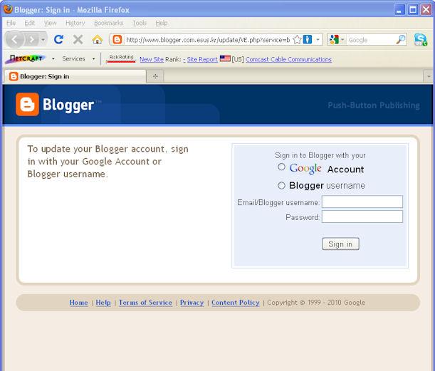 ejemplo phishing de blogger