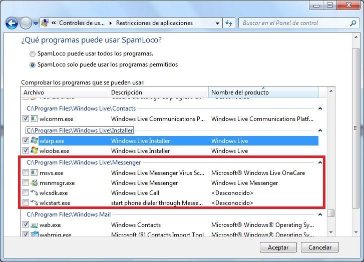 bloqueando programas en control parental de windows