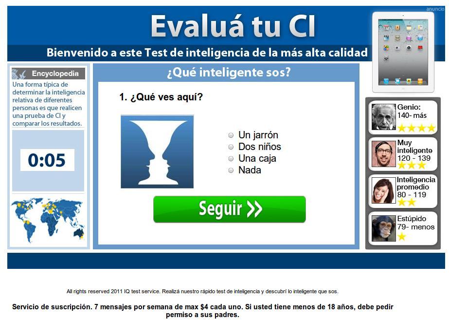 test falso para evaluar la inteligencia