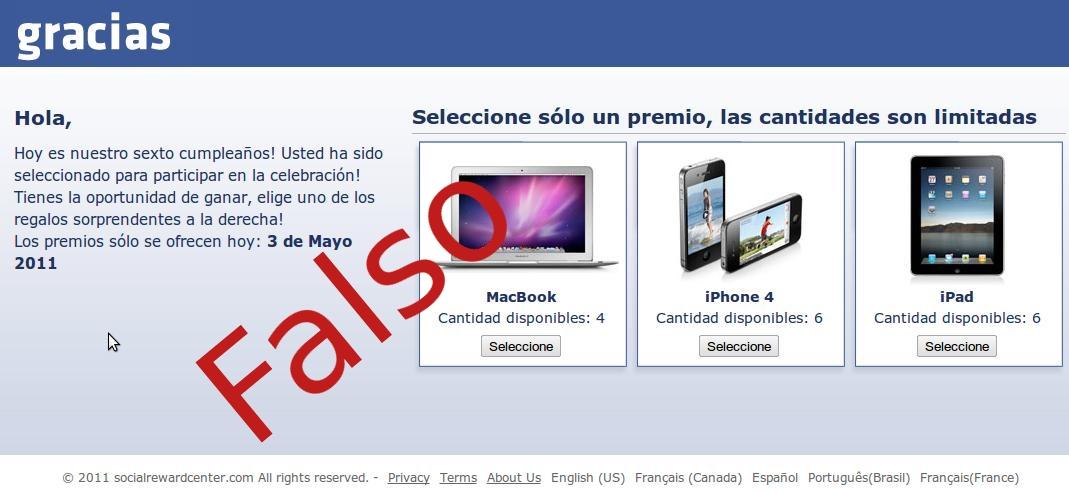 pagina falsa que simula a facebook