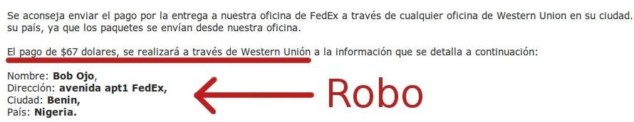 fedex estafa correo falso