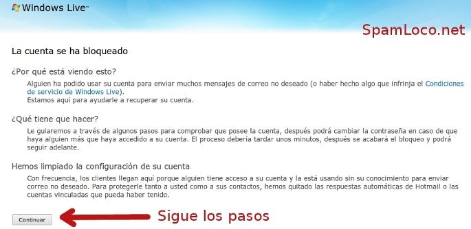cuenta bloqueada en hotmail