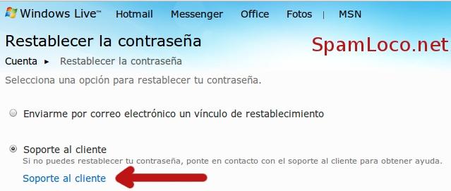 soporte hotmail restablecer