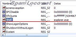 clave shell en el registro