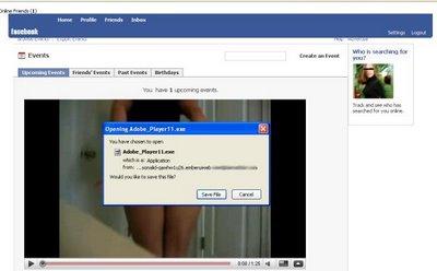 video falso de facebook