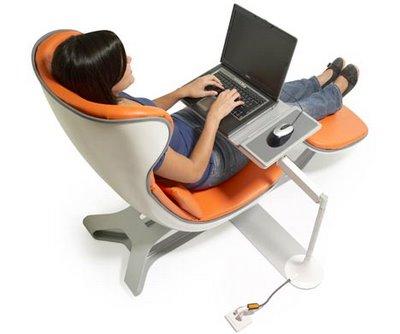 Silla ergonom trica para usar la notebook for Sillas comodas para pc