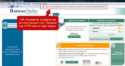 Web falsa Banesco