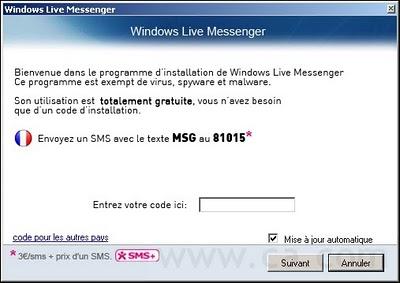 messenger falso que solicita sms