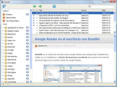 ReadAir con Google Reader