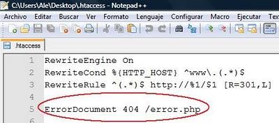 error 404 en htaccces