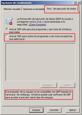 desactivando DEP en windows
