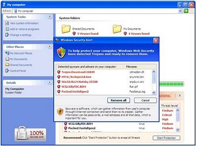 antivirus falso que simula ser parte de windows