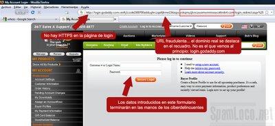 Phishing de GoDaddy sitio