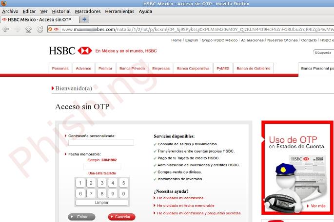 Phishing Del Banco Hsbc México