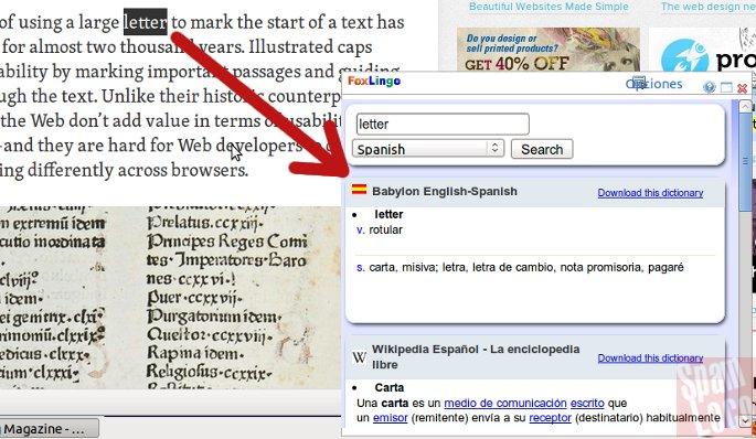 diccionario traductor en firefox