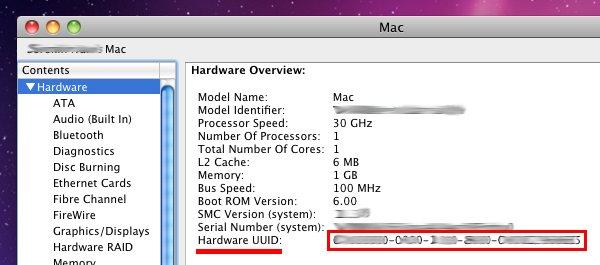 UUID de hardware en mac