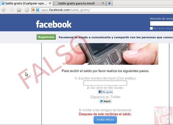 saldo gratis en facebook engaño