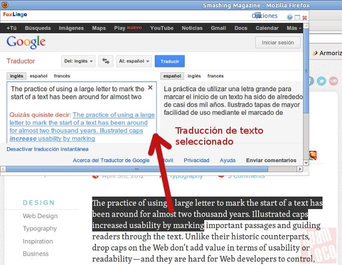 traductor de texto para firefox
