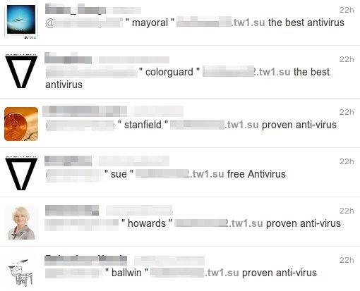 spam en tiwtter propaga falso antivirus