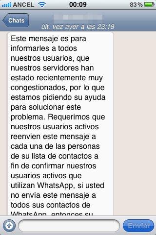 cadena por WhatsApp