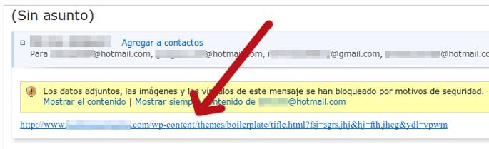 correo spam hotmail con enlace malicioso