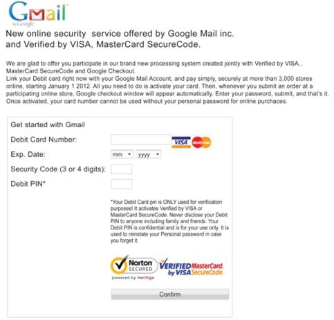 formulario falso tarjeta gmail generado por zeus