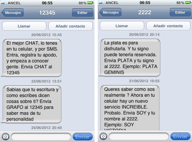 mensajes 12345 2222 sms uruguay