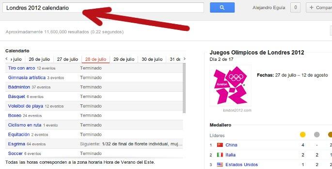 calendario londres 2012 en google