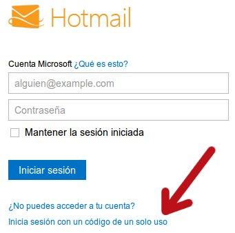 contraseña de un solo uso en hotmail
