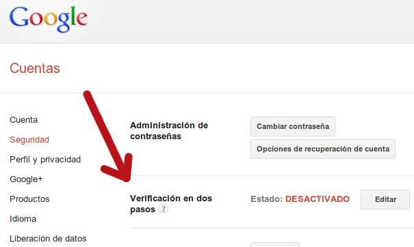 verificacion de dos pasos en google