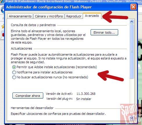 opciones de actualizacion de flash player en windows