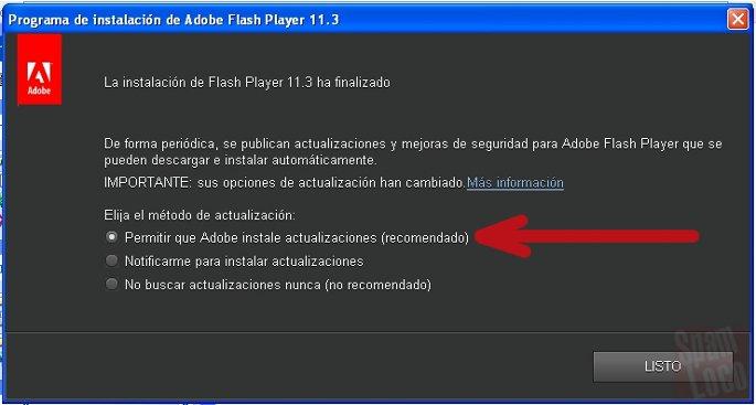 opcion para actualizar flash automaticamente