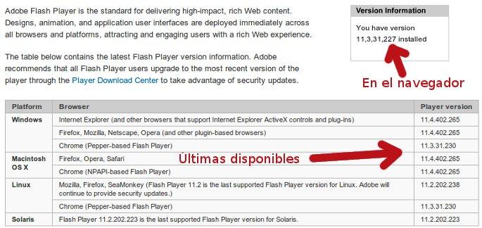 versiones de flash verificacion