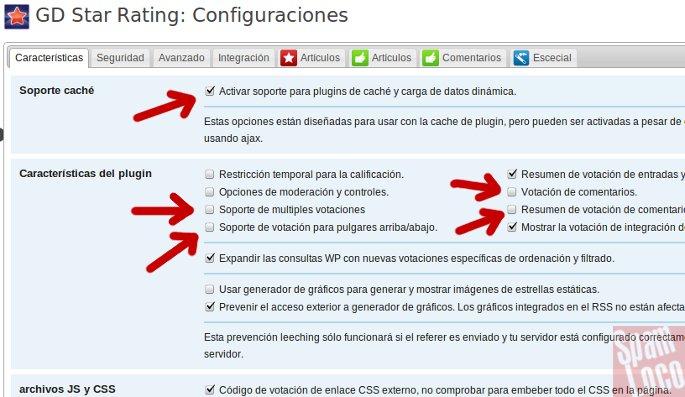 configuracion plugin GD Star Rating