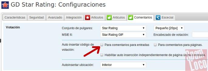 configuracion GD Star Rating