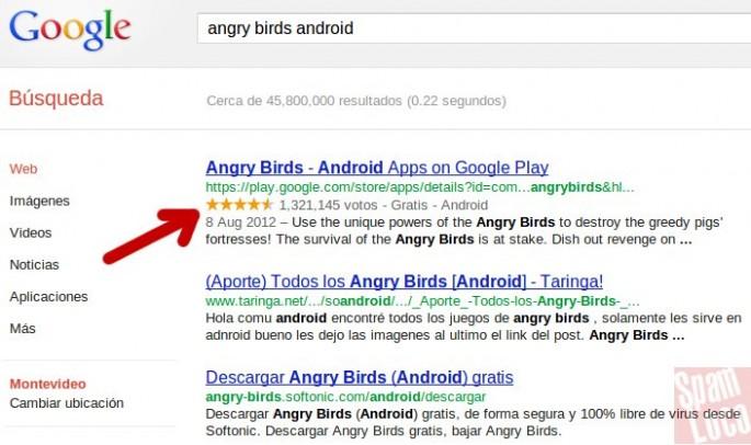 estrellas resultados de google