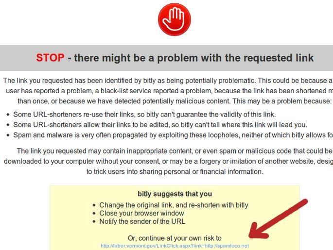 advertencia bitly enlace corto