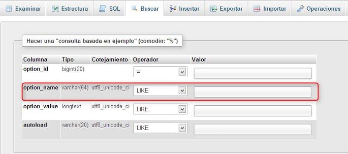 limpiando base de datos con phpMyAdmin