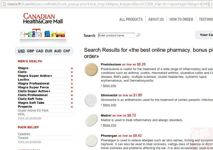 farmacia spam en sitio infectado