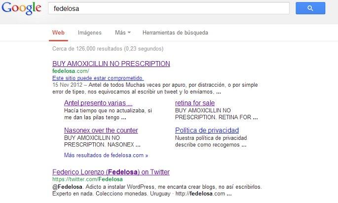 fedelosa en google infectado