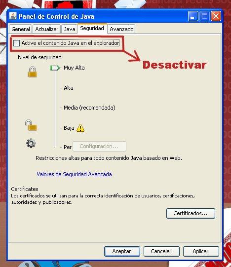 desactivar java navegadores