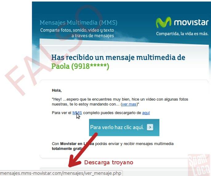 mms correo falso mensaje