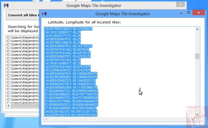 latitud longitud google tile investigator