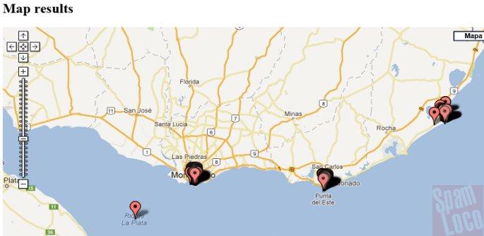 puntos mapeados Google Maps Tile Investigator