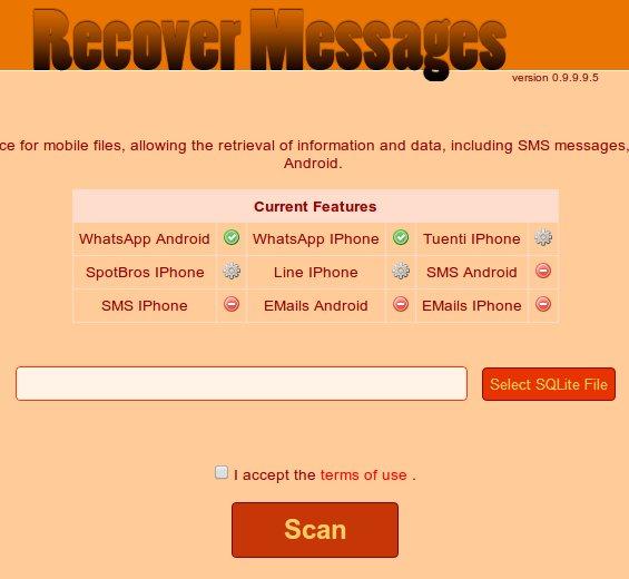 Recover Messages aplicacion online