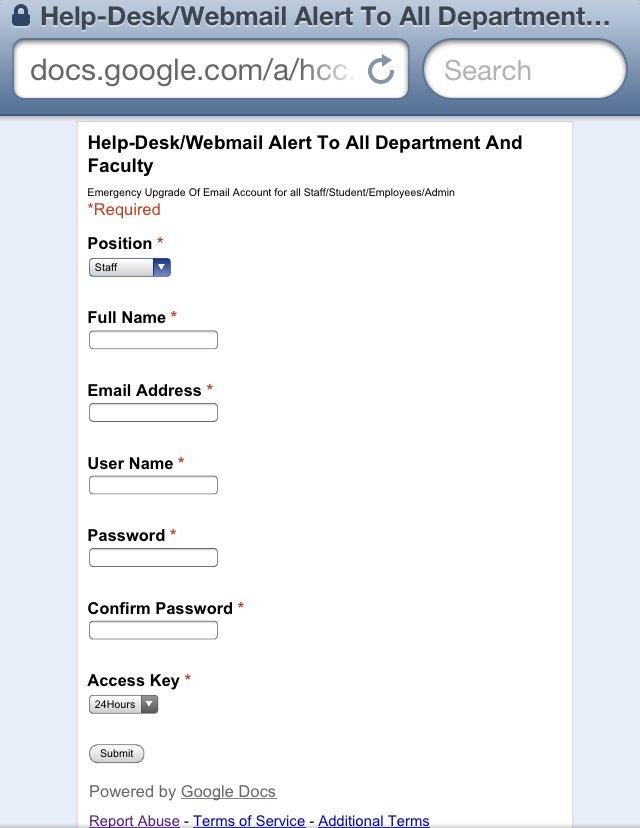 phishing Oxford con google docs