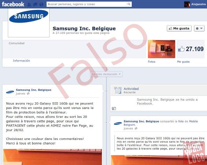 facebook falso samsung belgica para sorteos
